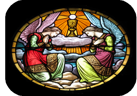 angels adoring the Lord in the Eucharist